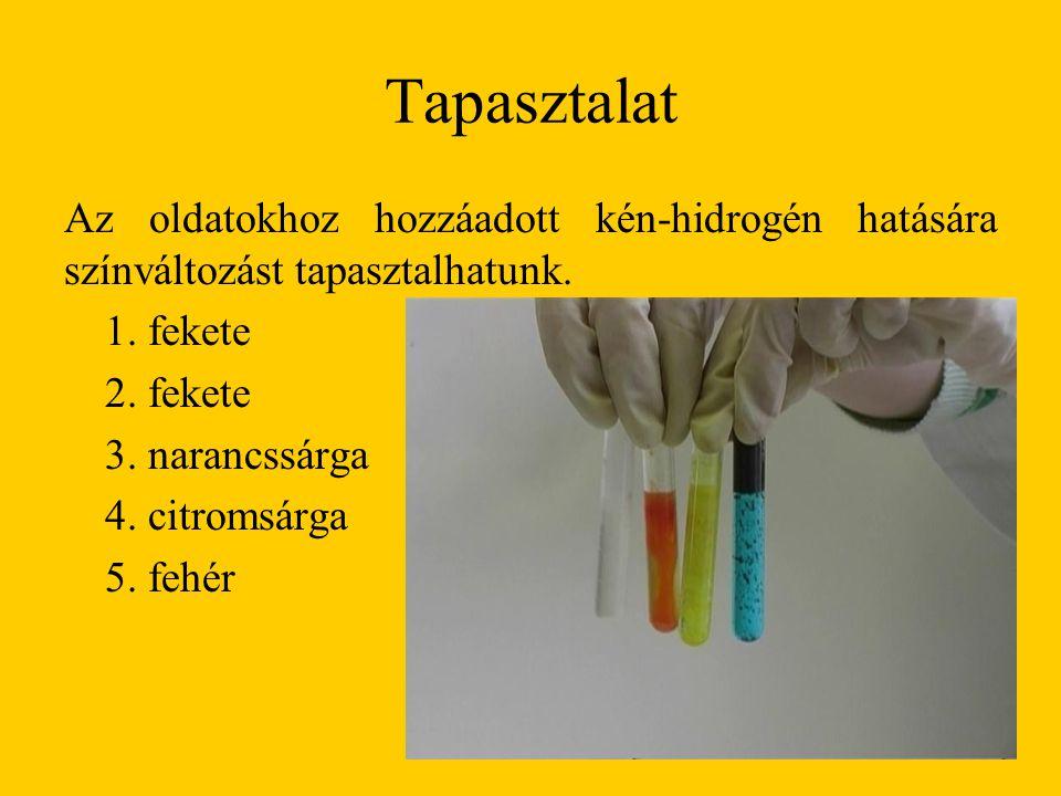 Tapasztalat Az oldatokhoz hozzáadott kén-hidrogén hatására színváltozást tapasztalhatunk. 1. fekete 2. fekete 3. narancssárga 4. citromsárga 5. fehér