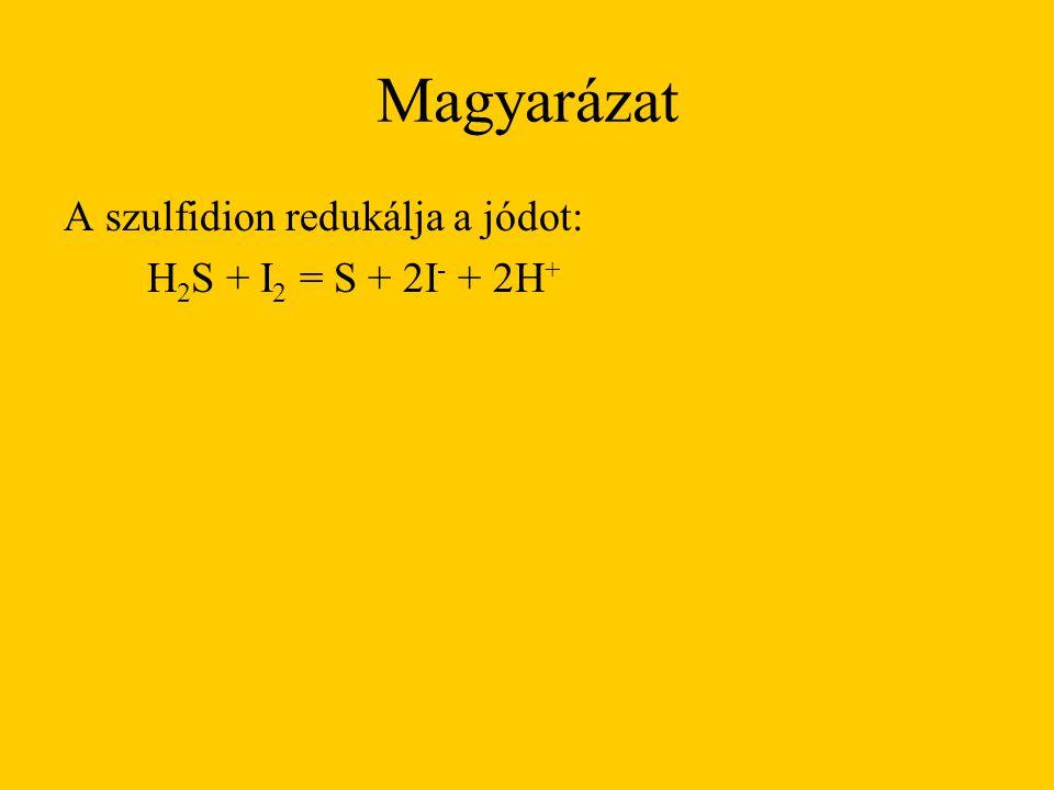 Magyarázat A szulfidion redukálja a jódot: H 2 S + I 2 = S + 2I - + 2H +