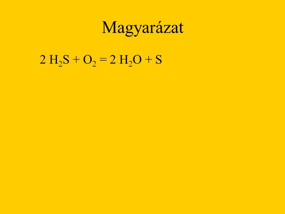 Magyarázat 2 H 2 S + O 2 = 2 H 2 O + S