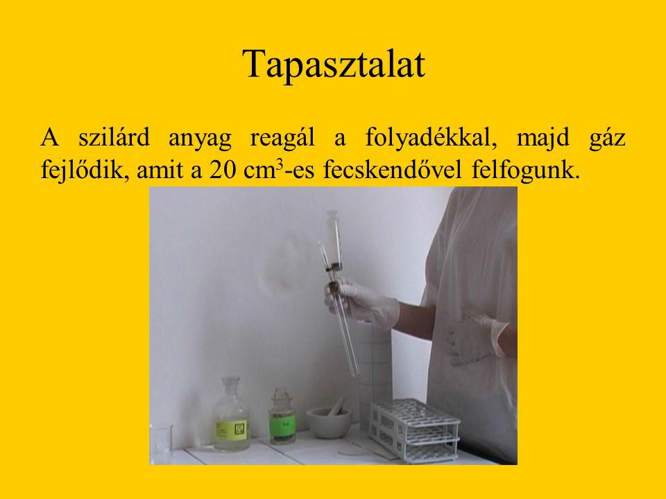 Tapasztalat A szilárd anyag reagál a folyadékkal, majd gáz fejlődik, amit a 20 cm 3 -es fecskendővel felfogunk.