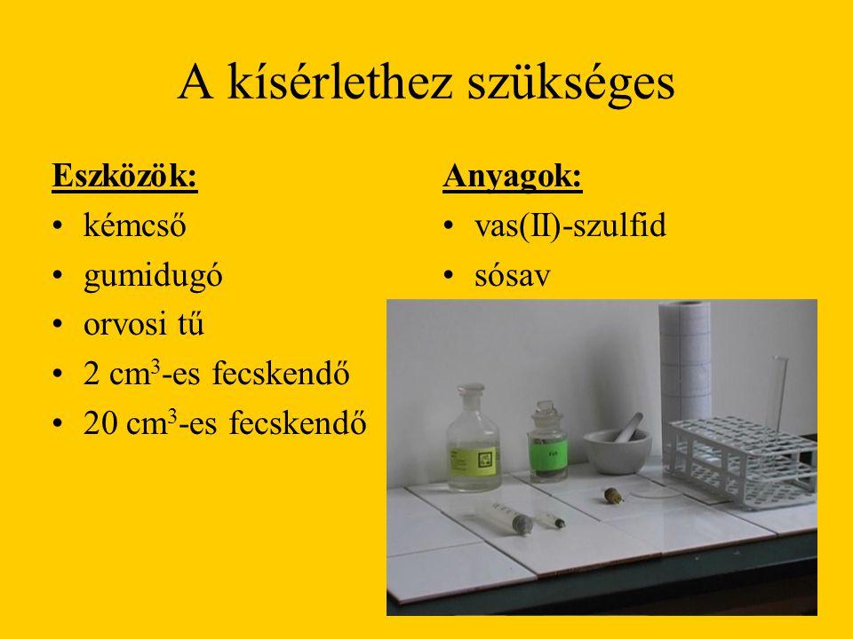 A kísérlethez szükséges Eszközök: kémcső gumidugó orvosi tű 2 cm 3 -es fecskendő 20 cm 3 -es fecskendő Anyagok: vas(II)-szulfid sósav