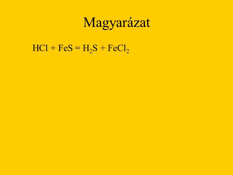Magyarázat HCl + FeS = H 2 S + FeCl 2