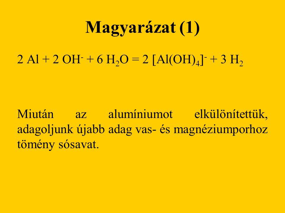 Magyarázat (1) 2 Al + 2 OH - + 6 H 2 O = 2  Al(OH) 4  - + 3 H 2 Miután az alumíniumot elkülönítettük, adagoljunk újabb adag vas- és magnéziumporhoz tömény sósavat.