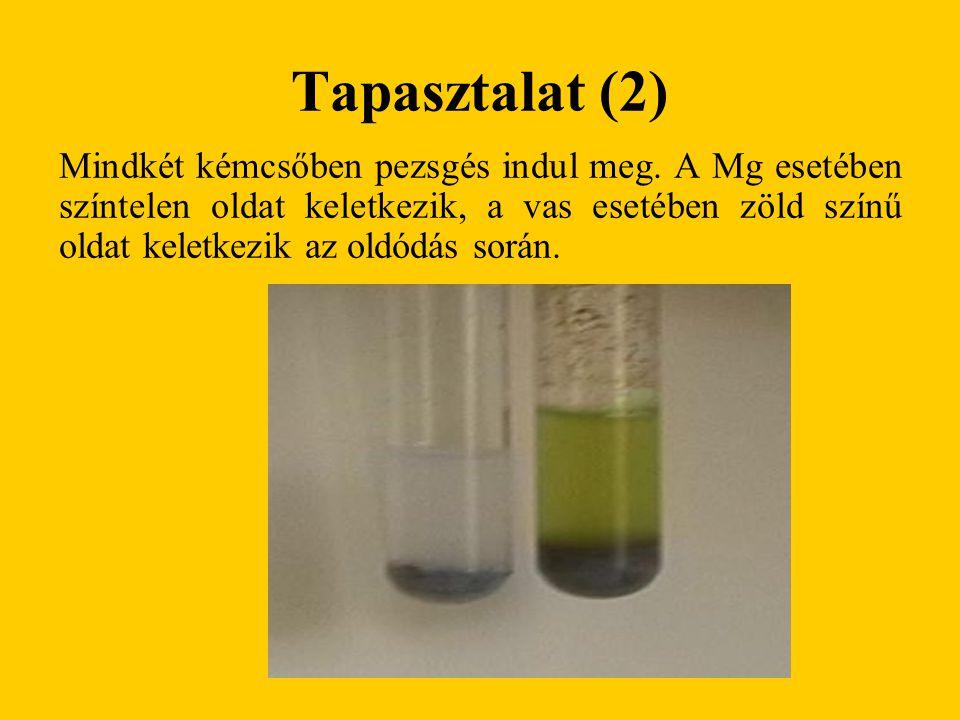 Tapasztalat (2) Mindkét kémcsőben pezsgés indul meg. A Mg esetében színtelen oldat keletkezik, a vas esetében zöld színű oldat keletkezik az oldódás s