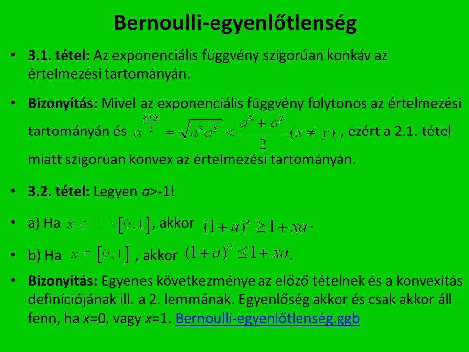 Bernoulli-egyenlőtlenség 3.1. tétel: Az exponenciális függvény szigorúan konkáv az értelmezési tartományán. Bizonyítás: Mivel az exponenciális függvén