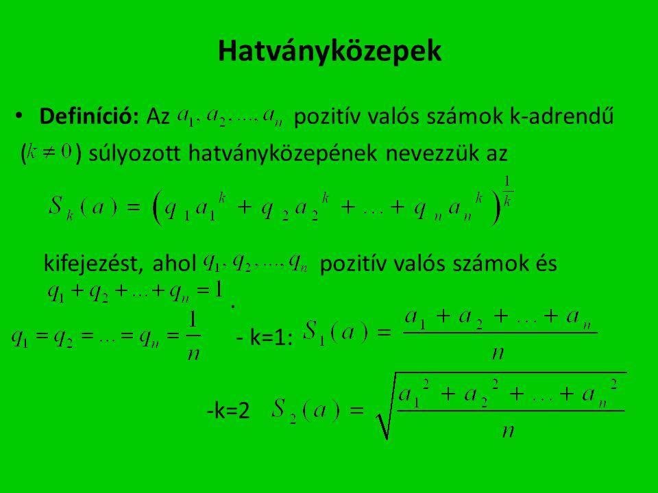 Hatványközepek Definíció: Az pozitív valós számok k-adrendű ( ) súlyozott hatványközepének nevezzük az kifejezést, ahol pozitív valós számok és. - k=1