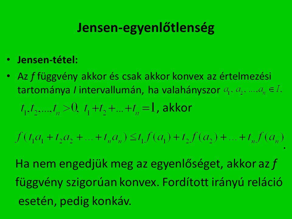 Jensen-egyenlőtlenség Jensen-tétel: Az f függvény akkor és csak akkor konvex az értelmezési tartománya I intervallumán, ha valahányszor, akkor. Ha nem
