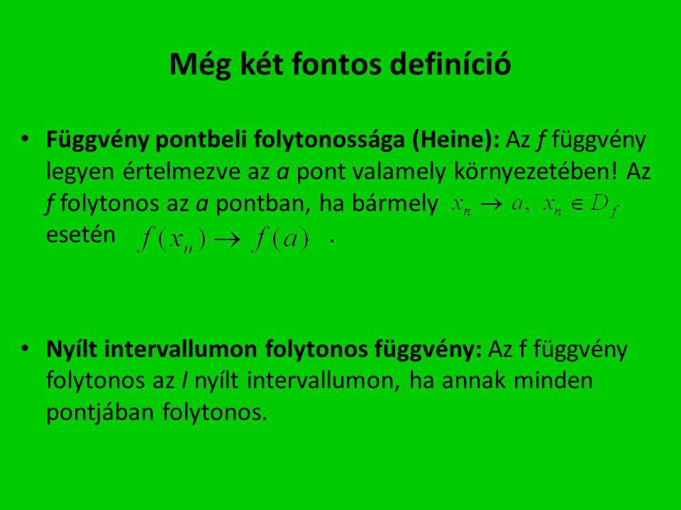 Még két fontos definíció Függvény pontbeli folytonossága (Heine): Az f függvény legyen értelmezve az a pont valamely környezetében! Az f folytonos az