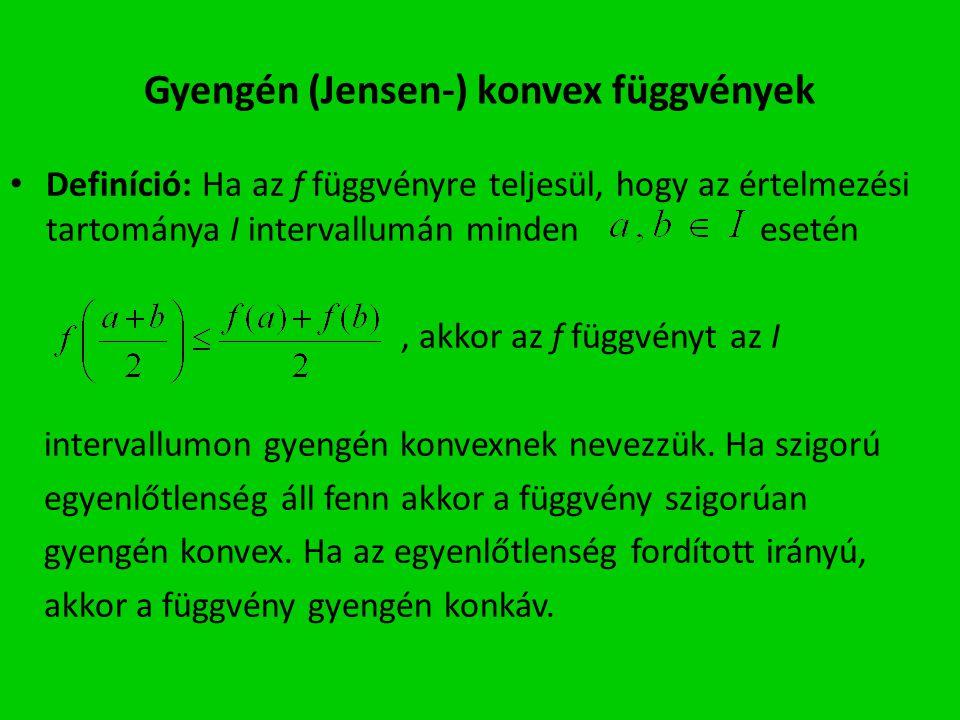 Gyengén (Jensen-) konvex függvények Definíció: Ha az f függvényre teljesül, hogy az értelmezési tartománya I intervallumán minden esetén, akkor az f függvényt az I intervallumon gyengén konvexnek nevezzük.