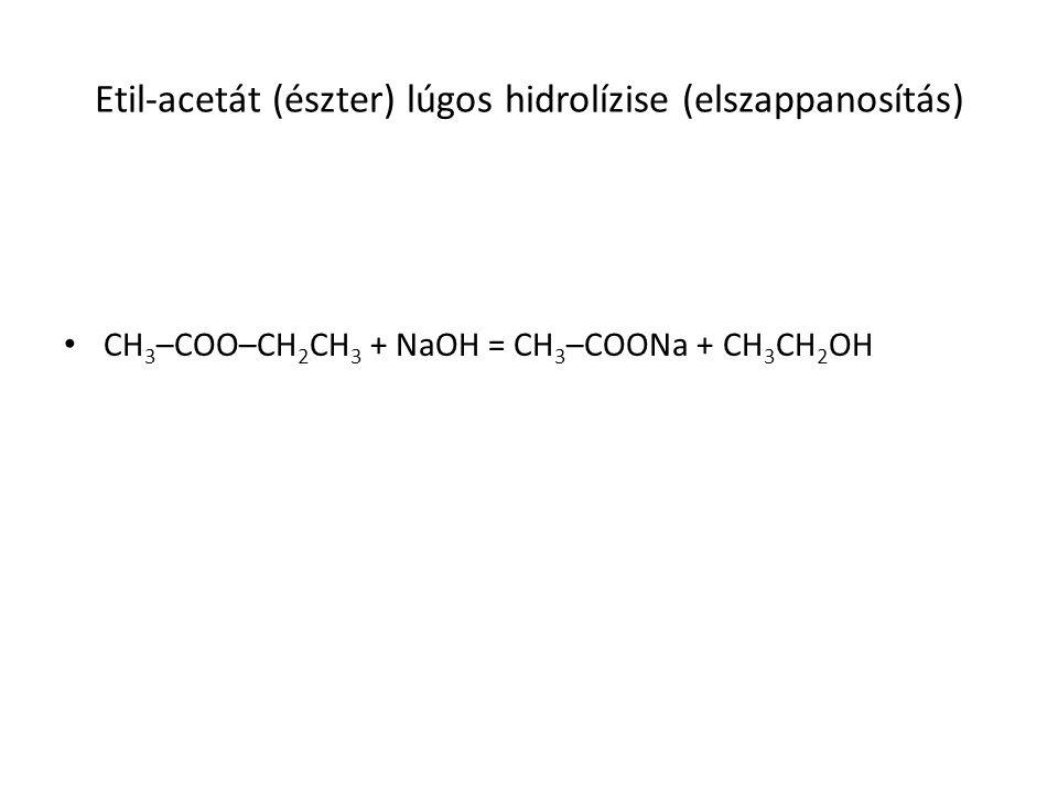 Etil-acetát (észter) lúgos hidrolízise (elszappanosítás) CH 3 –COO–CH 2 CH 3 + NaOH = CH 3 –COONa + CH 3 CH 2 OH