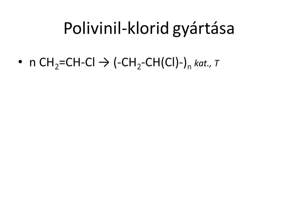 Polivinil-klorid gyártása n CH 2 =CH-Cl → (-CH 2 -CH(Cl)-) n kat., T