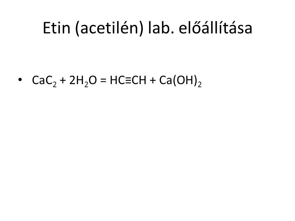 Etin (acetilén) lab. előállítása CaC 2 + 2H 2 O = HC≡CH + Ca(OH) 2