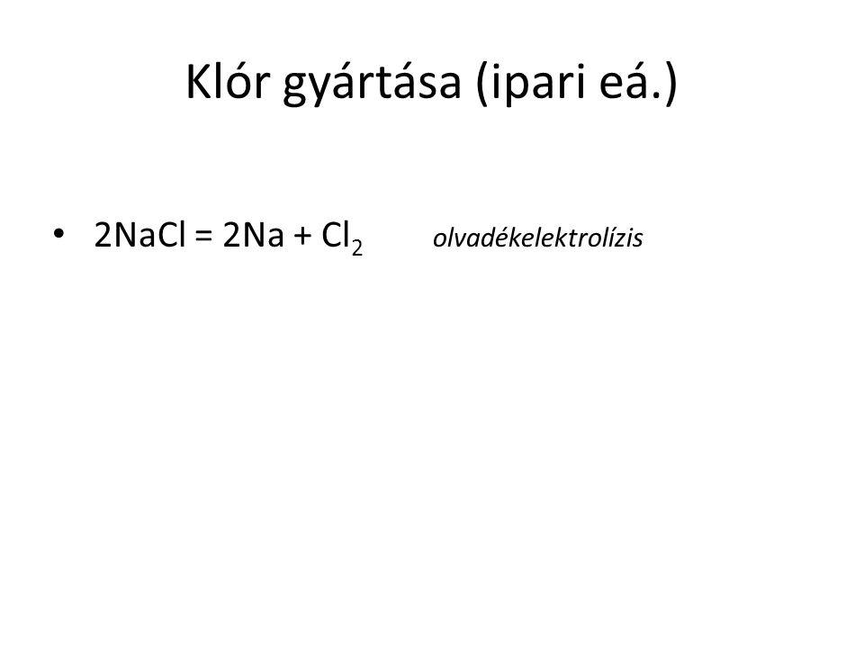 Klór gyártása (ipari eá.) 2NaCl = 2Na + Cl 2 olvadékelektrolízis