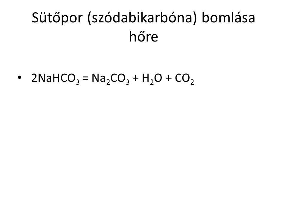Sütőpor (szódabikarbóna) bomlása hőre 2NaHCO 3 = Na 2 CO 3 + H 2 O + CO 2