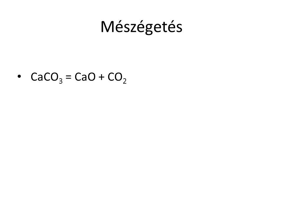 Mészégetés CaCO 3 = CaO + CO 2