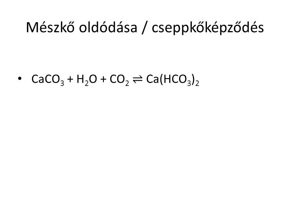 Mészkő oldódása / cseppkőképződés CaCO 3 + H 2 O + CO 2 ⇌ Ca(HCO 3 ) 2