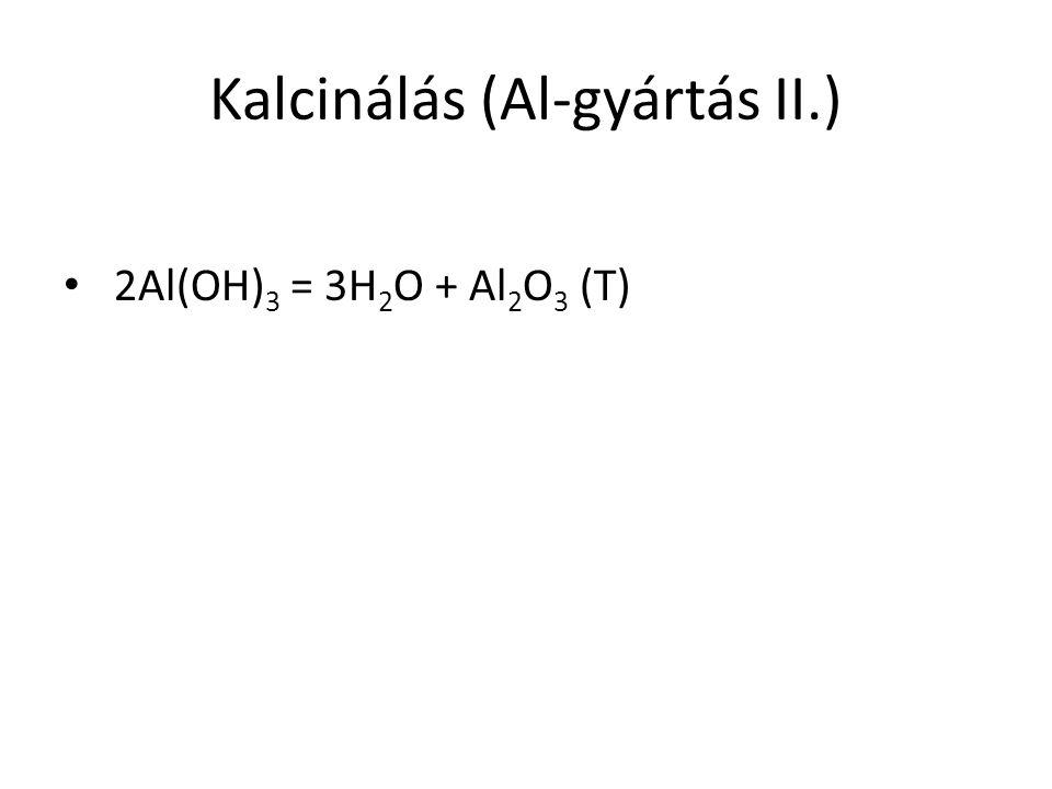 Kalcinálás (Al-gyártás II.) 2Al(OH) 3 = 3H 2 O + Al 2 O 3 (T)