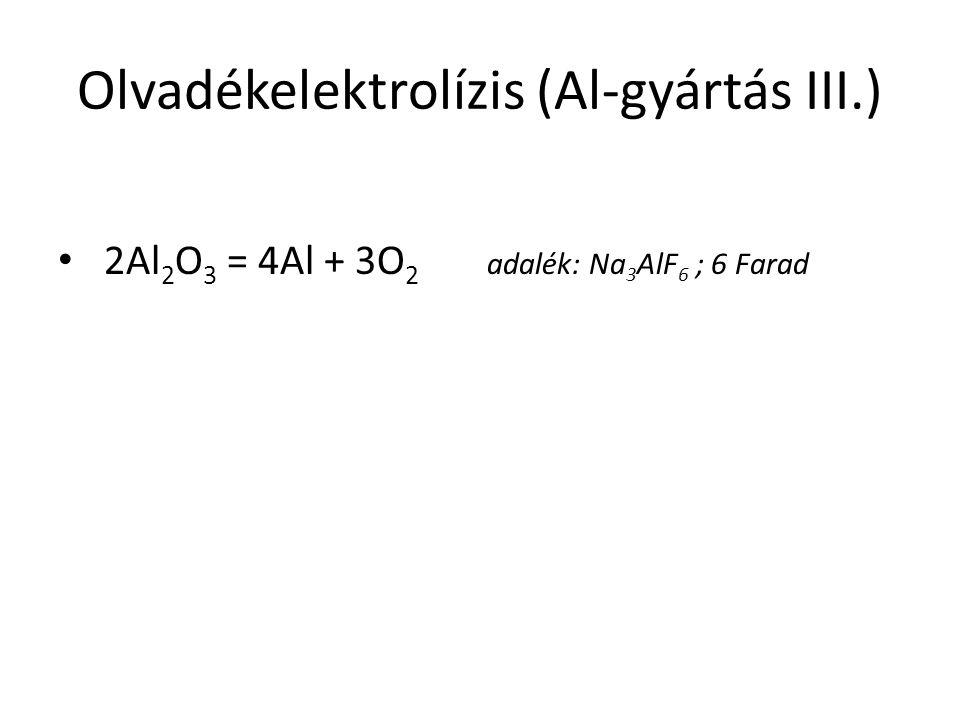 Olvadékelektrolízis (Al-gyártás III.) 2Al 2 O 3 = 4Al + 3O 2 adalék: Na 3 AlF 6 ; 6 Farad