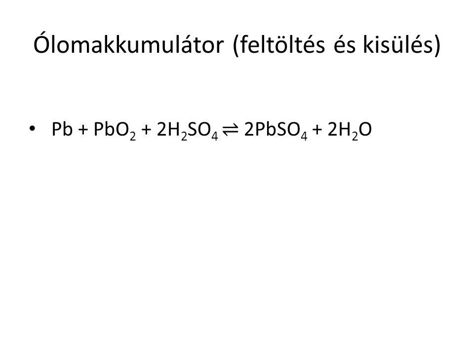 Ólomakkumulátor (feltöltés és kisülés) Pb + PbO 2 + 2H 2 SO 4 ⇌ 2PbSO 4 + 2H 2 O
