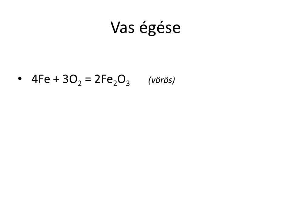 Vas égése 4Fe + 3O 2 = 2Fe 2 O 3 (vörös)
