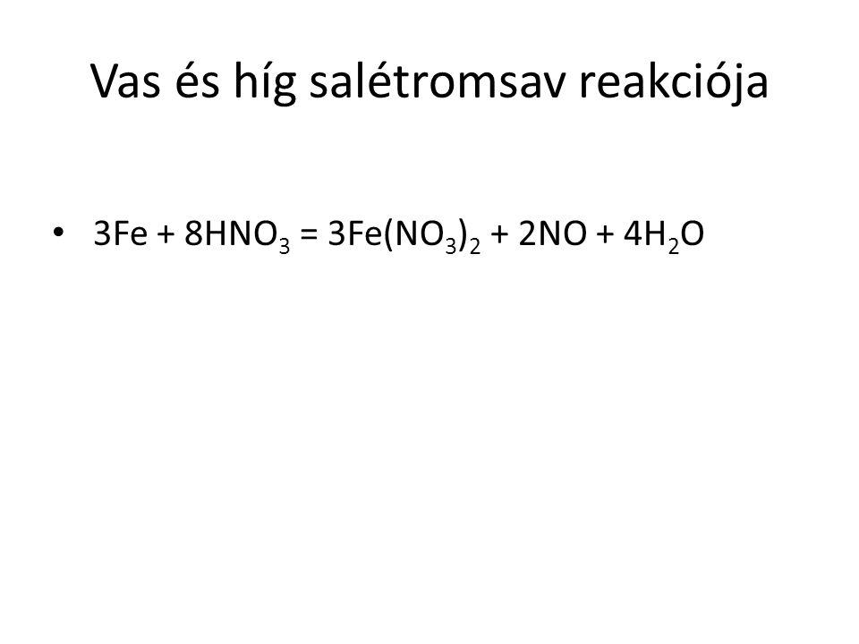 Vas és híg salétromsav reakciója 3Fe + 8HNO 3 = 3Fe(NO 3 ) 2 + 2NO + 4H 2 O