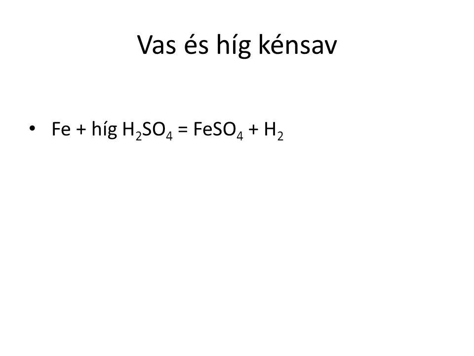 Vas és híg kénsav Fe + híg H 2 SO 4 = FeSO 4 + H 2