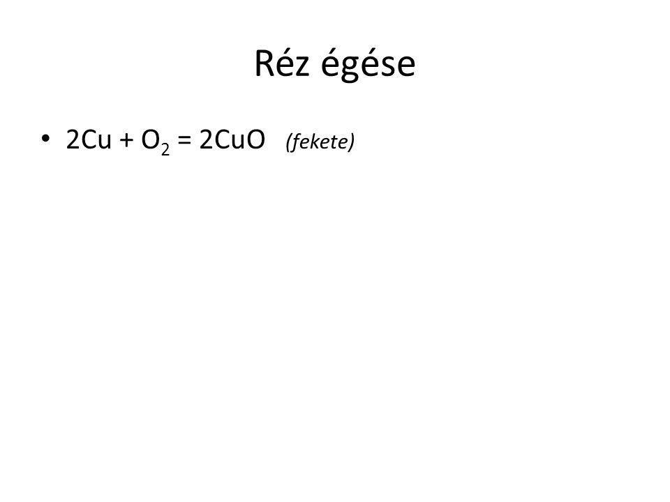 Réz égése 2Cu + O 2 = 2CuO (fekete)