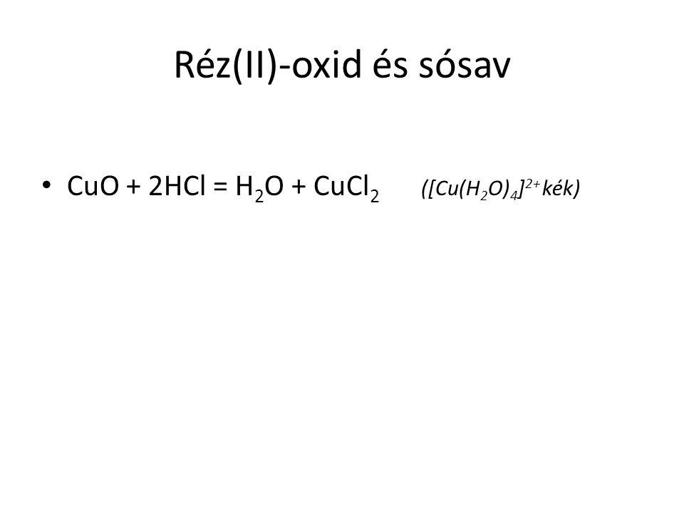Réz(II)-oxid és sósav CuO + 2HCl = H 2 O + CuCl 2 ([Cu(H 2 O) 4 ] 2+ kék)