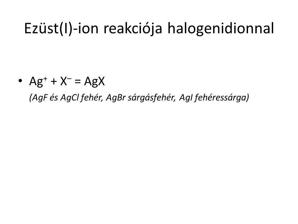Ezüst(I)-ion reakciója halogenidionnal Ag + + X – = AgX (AgF és AgCl fehér, AgBr sárgásfehér, AgI fehéressárga)