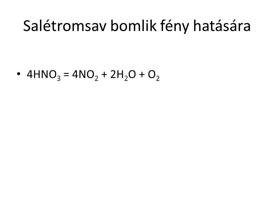 Salétromsav bomlik fény hatására 4HNO 3 = 4NO 2 + 2H 2 O + O 2