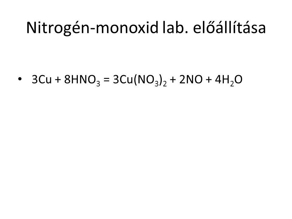 Nitrogén-monoxid lab. előállítása 3Cu + 8HNO 3 = 3Cu(NO 3 ) 2 + 2NO + 4H 2 O