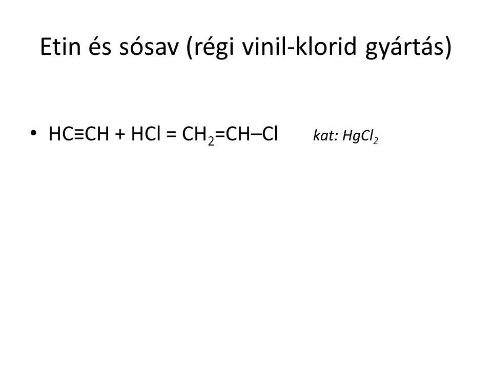 Etin és sósav (régi vinil-klorid gyártás) HC≡CH + HCl = CH 2 =CH–Cl kat: HgCl 2