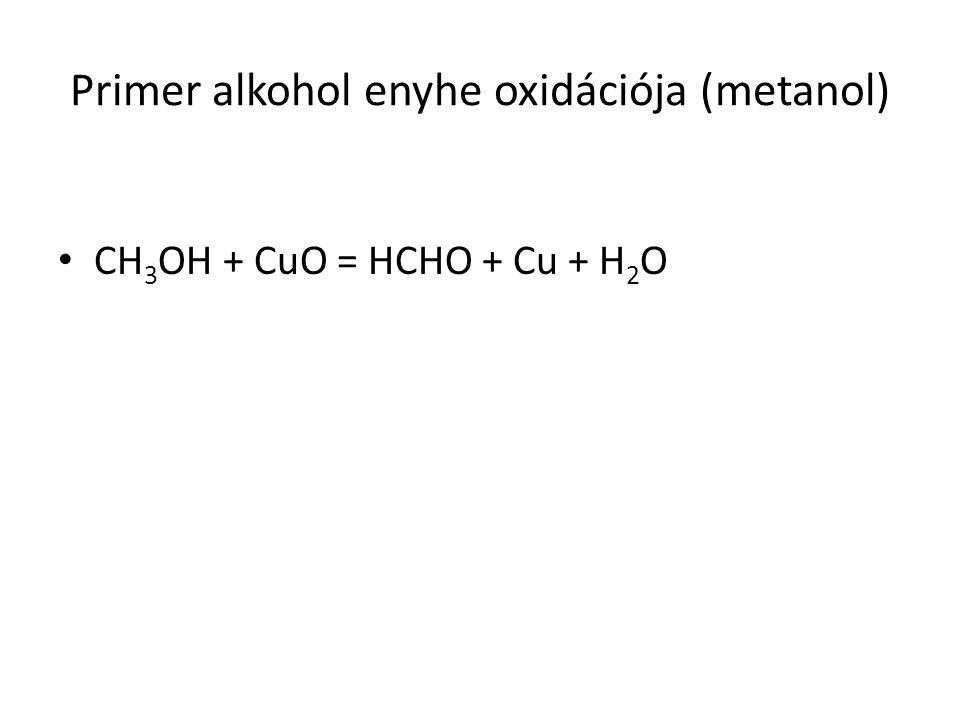 Primer alkohol enyhe oxidációja (metanol) CH 3 OH + CuO = HCHO + Cu + H 2 O