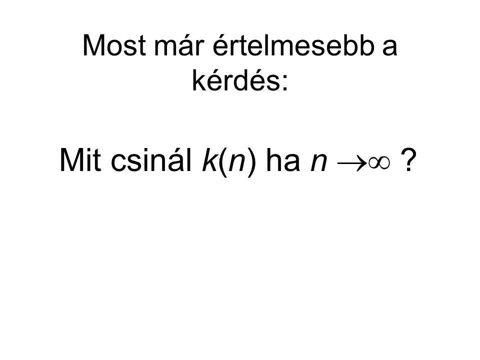 Most már értelmesebb a kérdés: Mit csinál k(n) ha n 