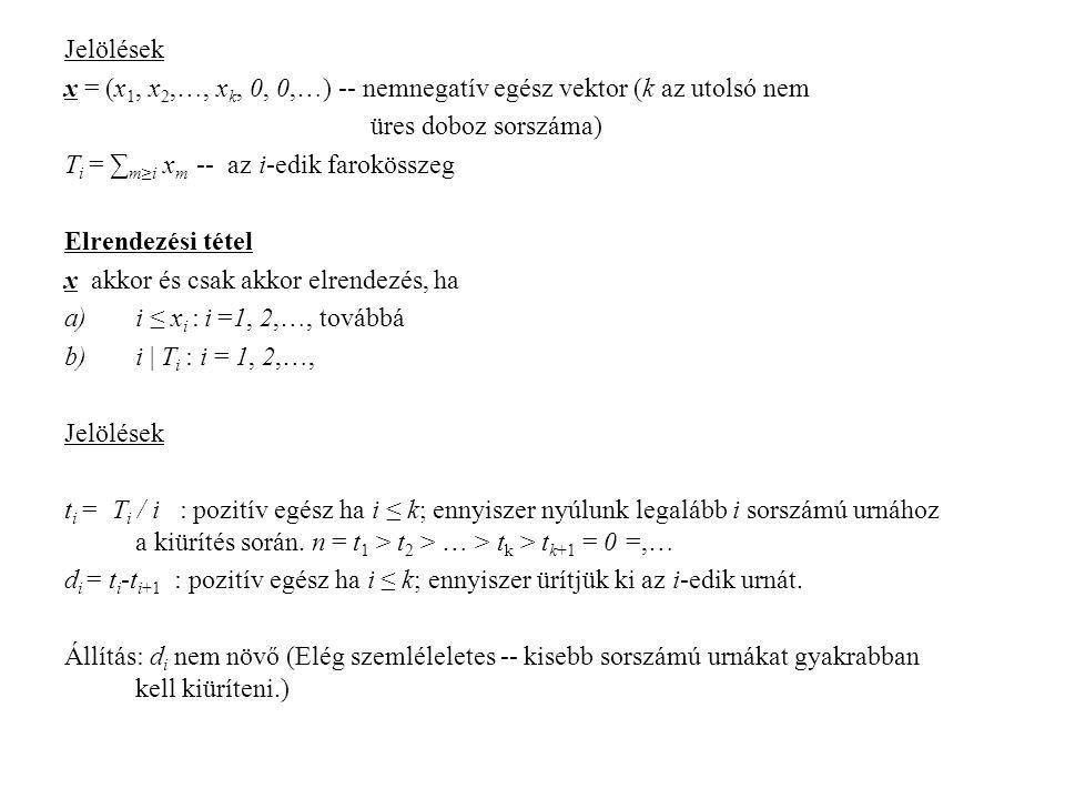 Jelölések x = (x 1, x 2,…, x k, 0, 0,…) -- nemnegatív egész vektor (k az utolsó nem üres doboz sorszáma) T i = ∑ m≥i x m -- az i-edik farokösszeg Elrendezési tétel x akkor és csak akkor elrendezés, ha a)i ≤ x i : i =1, 2,…, továbbá b)i | T i : i = 1, 2,…, Jelölések t i = T i / i : pozitív egész ha i ≤ k; ennyiszer nyúlunk legalább i sorszámú urnához a kiürítés során.