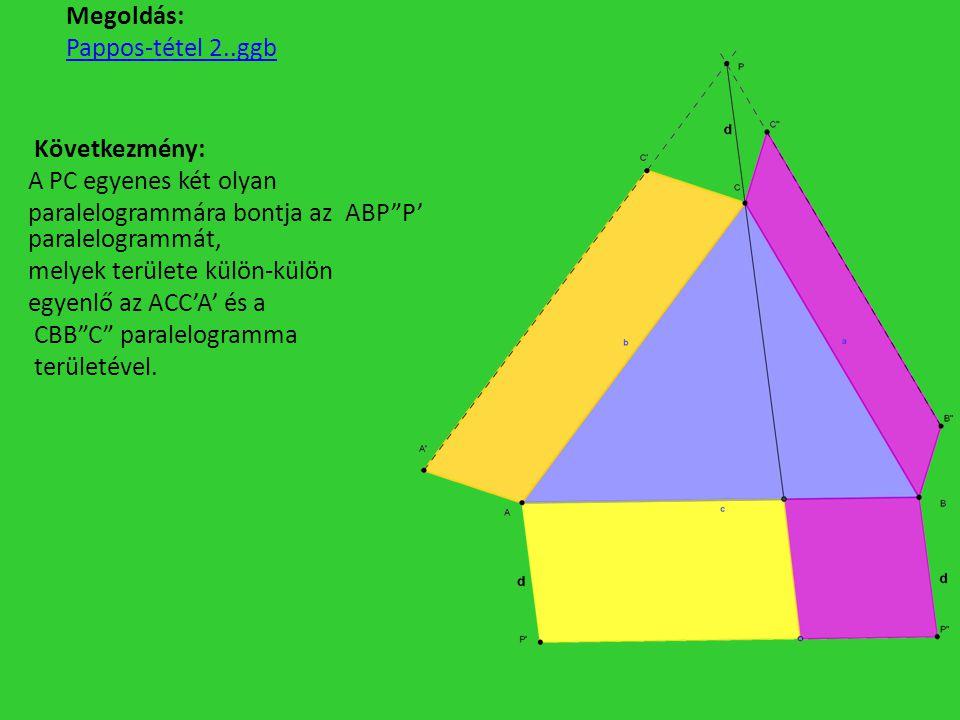 Megoldás: Pappos-tétel 2..ggb Következmény: A PC egyenes két olyan paralelogrammára bontja az ABP P' paralelogrammát, melyek területe külön-külön egyenlő az ACC'A' és a CBB C paralelogramma területével.