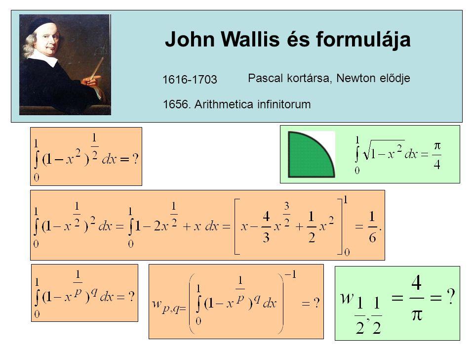 1616-1703 Pascal kortársa, Newton elődje 1656. Arithmetica infinitorum John Wallis és formulája