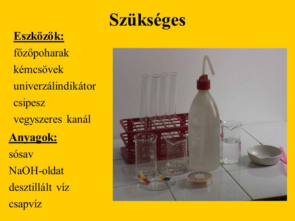Szükséges Eszközök: főzőpoharak kémcsövek univerzálindikátor csipesz vegyszeres kanál Anyagok: sósav NaOH-oldat desztillált víz csapvíz