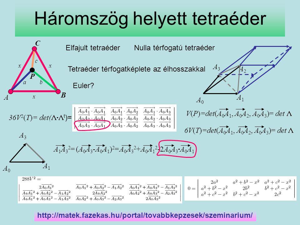 Másodfokú egyenlet x2=Xx2=XX 2 -(a 2 +b 2 +c 2 )X+(a 4 +b 4 +c 4 -a 2 b 2 -b 2 c 2 -c 2 a 2 )=0 Két megoldás X -re és így két pozitív x -re is.