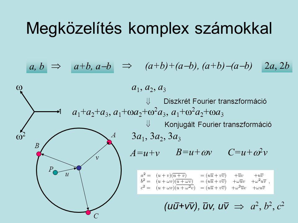 DFT Keressük az uu, vv mennyiségeket: Összegük: a fenti első egyenlet Szorzatuk: a fenti alsó két egyenlet szorzata (a 2 +  2 b 2 +  c 2 ) (a 2 +  b 2 +  2 c 2 )= X 2 -(a 2 +b 2 +c 2 )X+(a 4 +b 4 +c 4 -a 2 b 2 -b 2 c 2 -c 2 a 2 )=0 a4+b4+c4-a2b2-b2c2-c2a2a4+b4+c4-a2b2-b2c2-c2a2 X=3vv u és v felcserélhető.