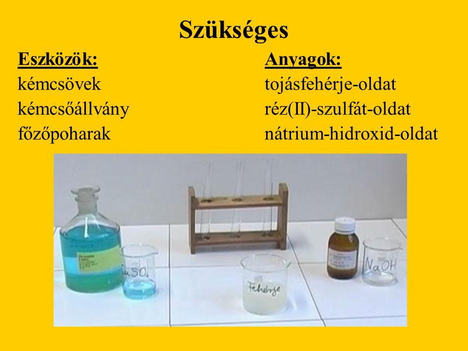 Szükséges Eszközök: kémcsövek kémcsőállvány főzőpoharak Anyagok: tojásfehérje-oldat réz(II)-szulfát-oldat nátrium-hidroxid-oldat