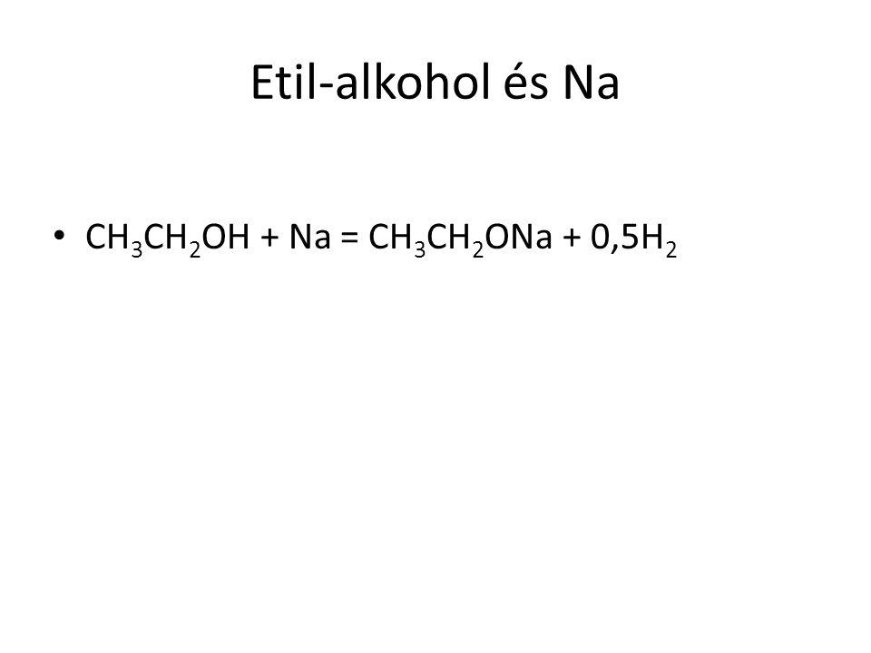 Etil-alkohol és Na CH 3 CH 2 OH + Na = CH 3 CH 2 ONa + 0,5H 2