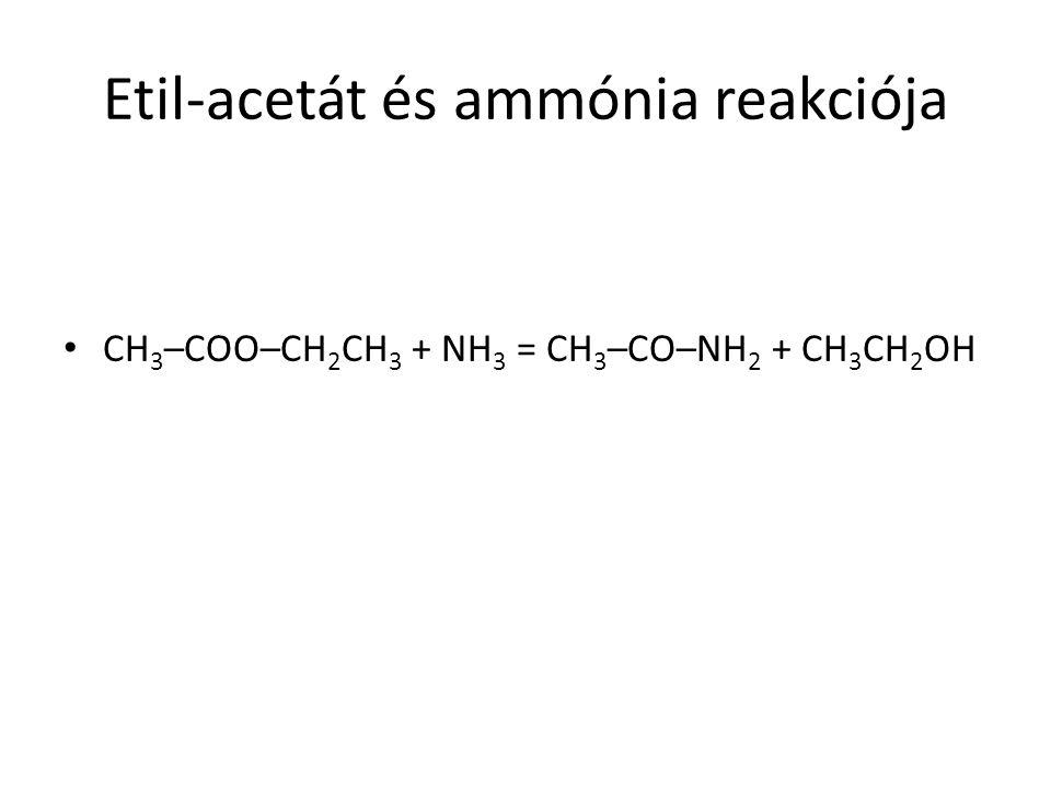 Etil-acetát és ammónia reakciója CH 3 –COO–CH 2 CH 3 + NH 3 = CH 3 –CO–NH 2 + CH 3 CH 2 OH
