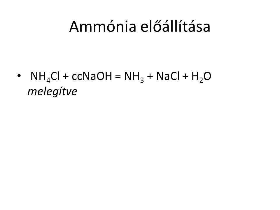 Ammónia előállítása NH 4 Cl + ccNaOH = NH 3 + NaCl + H 2 O melegítve
