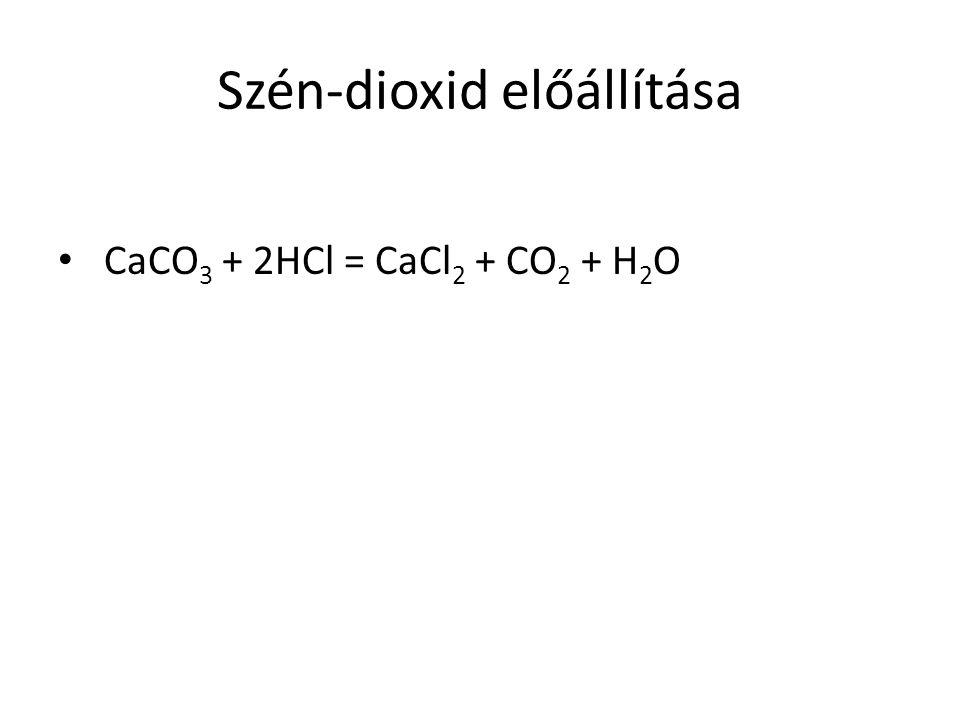 Szén-dioxid előállítása CaCO 3 + 2HCl = CaCl 2 + CO 2 + H 2 O