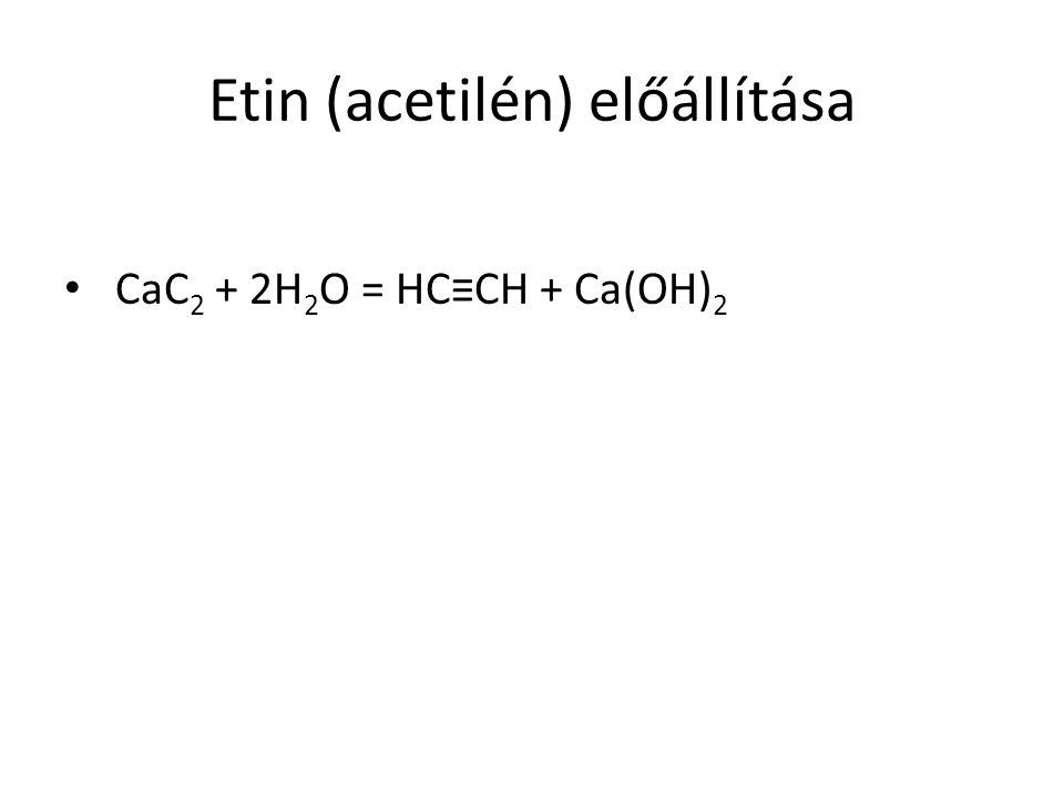 Etin (acetilén) előállítása CaC 2 + 2H 2 O = HC≡CH + Ca(OH) 2