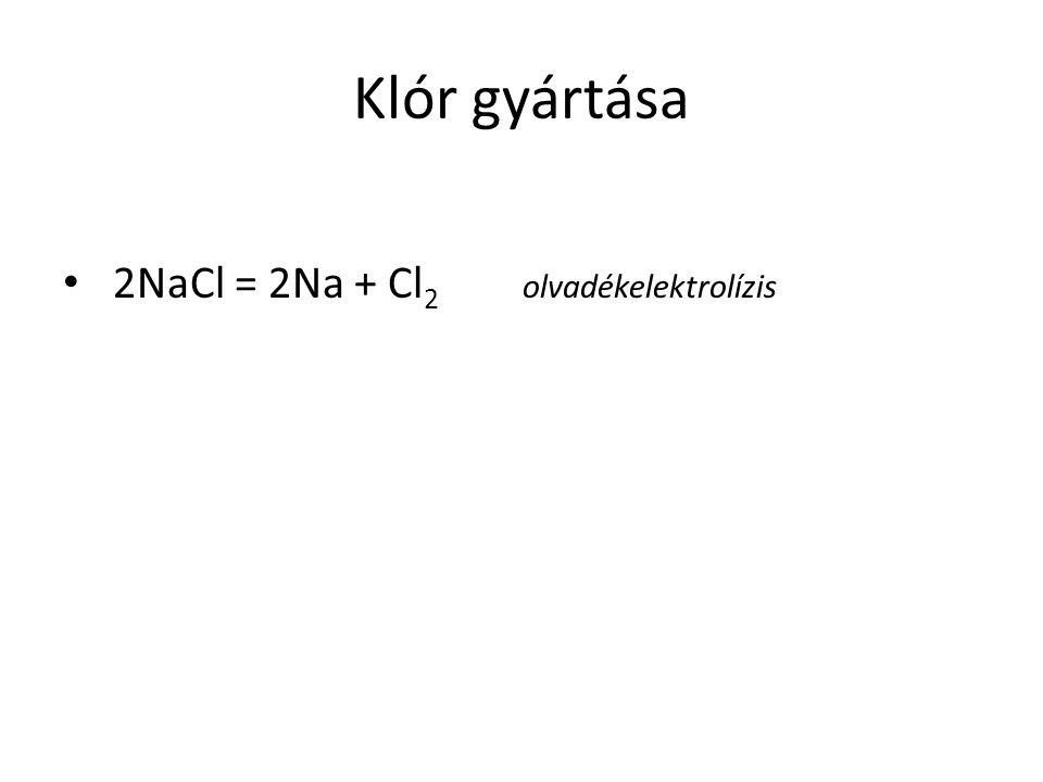 Klór gyártása 2NaCl = 2Na + Cl 2 olvadékelektrolízis