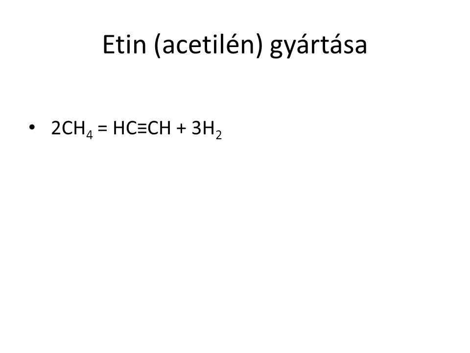 Etin (acetilén) gyártása 2CH 4 = HC≡CH + 3H 2