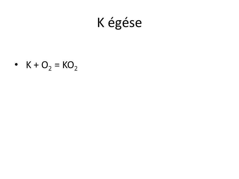 K égése K + O 2 = KO 2