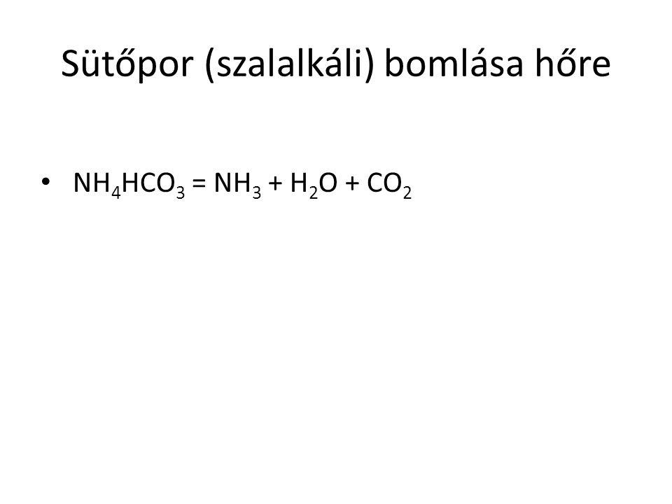 Sütőpor (szalalkáli) bomlása hőre NH 4 HCO 3 = NH 3 + H 2 O + CO 2
